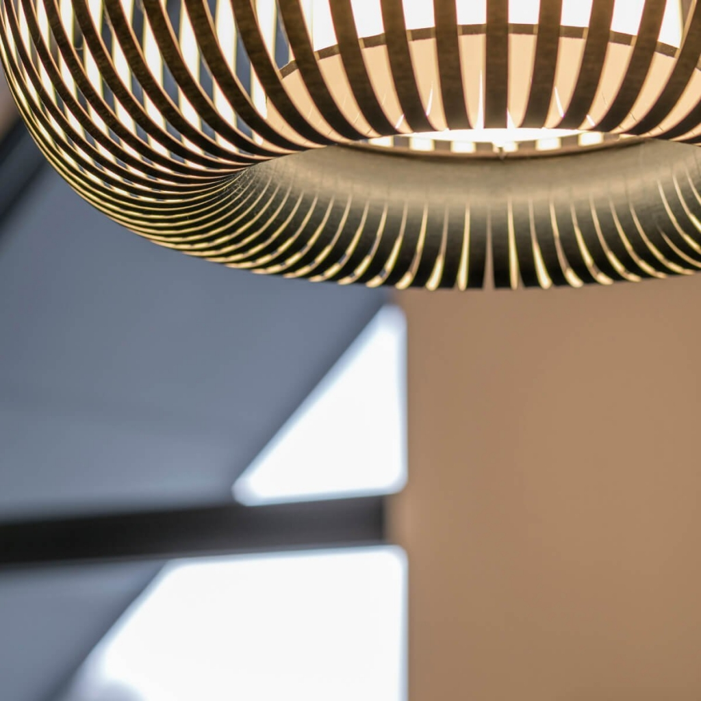 A brass interior light fitting