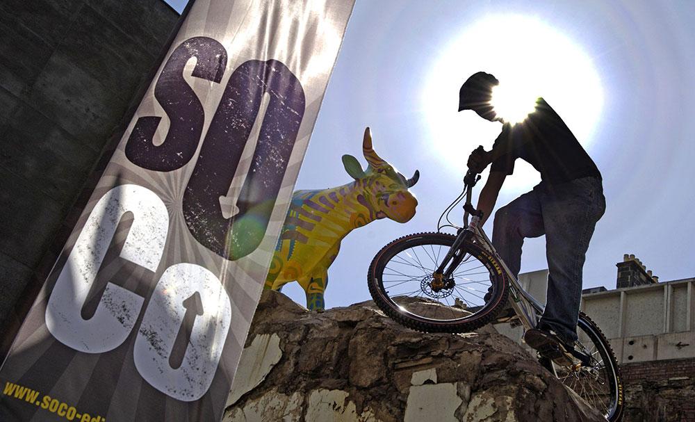 Mountain biker at Rat-Race Urban Adventure on SoCo site